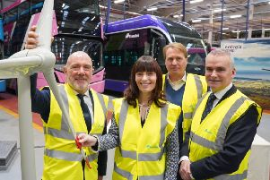 L-R Energia Group Chief Executive Ian Thom,Infrastructure Minister Nichola Mallon, Wrightbus Chairman Jo Bamford and Translink Group Chief Executive Chris Conway pictured as Belfast is set to receive the first ever hydrogen-powered double decker buses in Ireland before the end of 2020