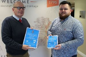 Chief Executive of the Grand Orange Lodge of Ireland Iain Carlisle and Youth Development Officer Gary McAllister pictured launching the Criminal Justice Careers Fair to be held at the Ballymena Showgrounds on Tuesday, February 11.