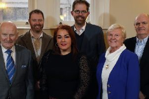 Council Chief Executive, Anne Donaghy, with Aldermen Robin Cherry MBE and Audrey Wales MBE, alongside Geoff Warke (Gleeds), and Mark Finlay and Gareth McKnight (Kennedy Fitzgerald Architects)