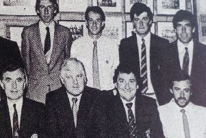 Players and officials of Wavelin Albion FC with their trophies which were presented at the annual dinner in Tollymore House Hotel.'1989