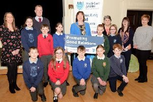 Schoolchildren from across the borough pictured with the Mayor at one of the Good Relations engagement programme  events