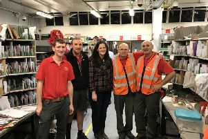 Claire Sugden MLA meeting with Coleraine delivery office staff to offer her support during the busy period running up to Christmas.