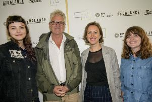 Melvin Benn launching his ReBalance plans with Lande Hekt from punk rock band Muncie Girls, PRS Foundation chief executive Vanessa Reed and Lucy Wood, also from Festival Republic.