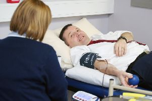 UUP leader Robin Swann pictured at the Northern Ireland Blood Transfusion Centre at Belfast City Hospital where he was donating blood for the 50th time. 'Picture by Jonathan Porter/PressEye.com
