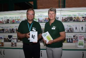 Local Macmillan volunteers David Johnston from Bushmills and Elizabeth Gaston from Portstewart are pictured in the Macmillan Information and Support Area at Causeway Hospital.
