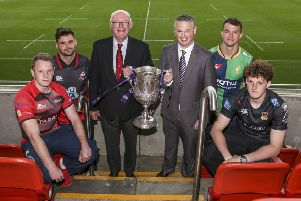 Jonathan Morton representing Armagh RFC, Paul Pritchard representing Rainey Old Boys RFC, Stephen Elliott President of the Ulster Branch, James Beattie representing the First Trust Bank, Conal Boomer representing Ballynahinch RFC and Matthew Norris representing Ballymena RF