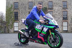 Ballymena man Neil Kernohan with his new Logan Racing Yamaha R1M. Picture: Mark Fenton.