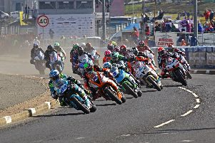 Alastair Seeley leads the Supersport pack at the 2018 North West 200.