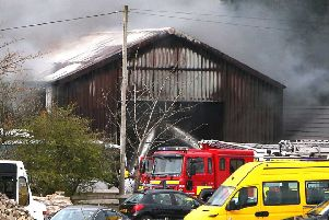 Up to 30 fire fighters attended this fire at a commercial premises on the Kirk Road in Ballymoney today. Photo: Steven McAuley/McAuley Multimedia