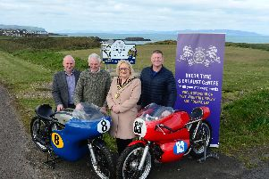 Dick Creith joins Brenda Chivers, Mayor, Causeway Coast and Glens Council, NW200 Event Director Mervyn Whyte and Keith Miller of sponsors, Breda Tyre and Exhaust Centre to launch the special display and parade of former winners' machinery to mark the 90th anniversary of the North  West 200.