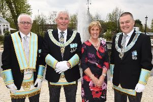 Maurice Lee, Past Provincial Grand Master of Tyrone and Fermanagh with newly appointed Provincial Grand Master of Antrim, John McLernon and his wife Jennifer with Johnny Woods Provincial Grand Master of Tyrone and Fermanagh