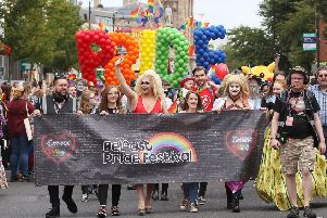 Crowds in the Belfast Pride parade in the city centre in 2017