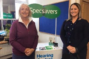 Royal Portrush Lady Captain, Liz McCartney with Specsavers trainee Hearing Aid Dispenser, Michaela Esler
