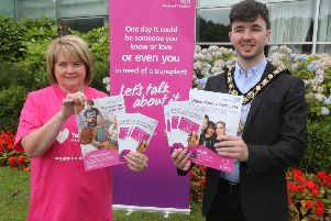 The Mayor of Causeway Coast and Glens Borough Council Councillor Sean Bateson and Organ Donation Specialist Nurse Mary McAfee are calling on people to talk about organ donation with their family members during Organ Donation Week