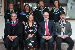 Guests and senior leaders at Dalriada prize day: (back) Mrs Heather Millar, Ms Louise Crawford, Mr John Devlin, Mrs Janice Emerson; (front) Mr Tom Skelton Headmaster, Miss Katie Mullan Chief Guest, Mr Brian Dillon Chairman, Cllr Sean Bateson, Mayor of Causeway Coast and Glens Borough Council