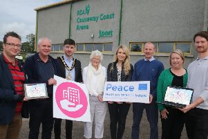 The Mayor of Causeway Coast and Glens Borough Council Councillor Sean Bateson pictured with Andrew Charles, Peace IV Officer, Councillor Dermot Nicholl, Chair of the Causeway Coast and Glens PEACE IV Partnership, Patricia Crossley, Vice-Chair of the PEACE IV Partnership, Sarah Fanin, GIS Officer, Nial McSorley, Digital Services Manager, Louise Scullion, Community Development Manager and Rory Flanagan, Peace IV Shared Space Research Officer at the launch of the Peace IV Community Facilities Mapping Project