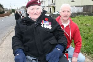 Sandy McLernon, pictured with Uel Thompson  at the  Submariners parade in Dervock.INBM10-14 116F.