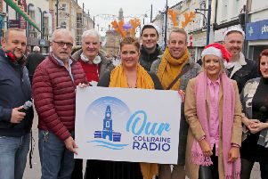Some of the Coleraine Christmas Radio team pictured in Coleraine town centre. The town's new, local radio station will be on air  late November