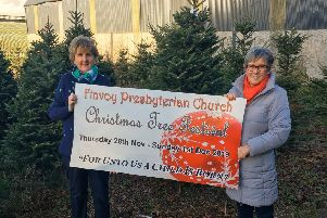 Clare Gamble and Mabel Campbell choosing the Christmas Trees at North Antrim Christmas Trees, Finvoy Road, Ballymoney
