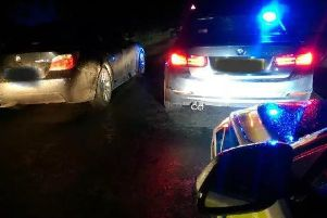 Police pictured seizing uninsured cars recently.