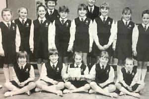 Banbridge Road Presbyterian Girls Brigade Explorers who won their section of the Bann District Choral Speaking and Choir competition in 1992