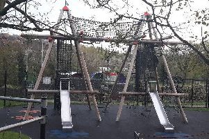 The climbing frame in the children's play area at Solitude Park, Banbridge was damaged in an overnight arson attack. Pic by PSNI Banbridge