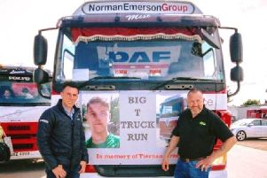 Stefan Green and his father Stephen who are organising a Big T Truck Run in memory of their brother and son Tiernan who passed away last year after suffering an asthma attack
