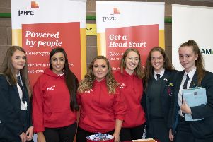 Pupils of Banbridge Academy and members of PwC pictured during the School's Careers Fair.