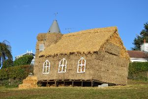 The church made from hay to promote Rathfriland Presbyterian Church's Harvest service
