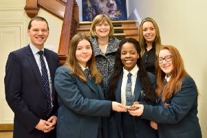 Mr R S McLoughlin (Principal), Emma Harrison, Pearl Sibanda and Lauren Graham with Anne Kerr from the British Psychology Society and Mrs L Duke (Teacher).