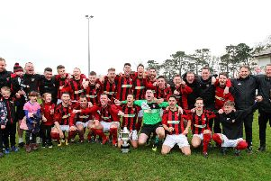 Banbridge Town celebrate their Bob Radcliffe Cup success following the 4-0 win in the final over Dollingstown