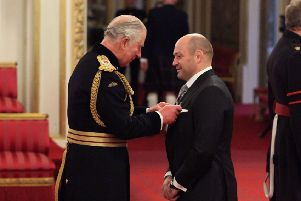 Dr. Rory Best is made an OBE (Officer of the Order of the British Empire) by the Prince of Wales during an Investiture ceremony at Buckingham palace, London