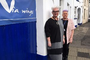 Via Wings founder Gail Redmond (left) and assistant manager Donna Harrison outside the charity's new base at Wellington House, Dromore.