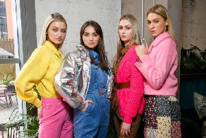 Models Sophie McGibbon, Molly Jeffrey, Philippa Boyd and Aimee Boyle, pictured at the launch of Belfast Fashionweek.