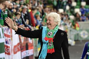 BELFAST, NORTHERN IRELAND - OCTOBER 08: Dame Mary Peters pictured as she attends the FIFA 2018 World Cup Qualifier between Northern Ireland and San Marino at Windsor Park on October 8, 2016 in Belfast, Northern Ireland. (Photo by Charles McQuillan/Getty Images)
