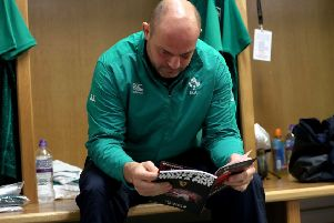 Ireland's Rory Best in the dressing room ahead of the game