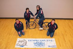 L-R Stephen Gordon (club leader), Roberta Simmons (Club President), Alison Gracey and Matthew Murphy (Club Secretary) pictured as they prepare for their sponsored cycle.