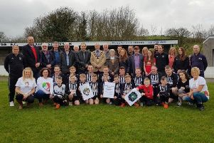 The family, friends and members of Dromara Village Football Club at the launch day of the Manchester United Legends game.