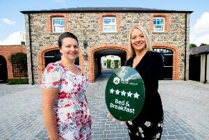 The Coach House Boutique B&B has been awarded five stars by Tourism NI under its Accommodation Grading Scheme. Pictured at the grading announcement from L to R, Sharon Tinsley of Coach House Boutique B&B with Deborah Avery, Tourism NI