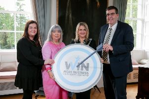 Lord Mayor Mealla Campbell, Melissa Monteith and Janis Simpson-Mahoney, Global Education (NI) Ltd; and Alderman Stephen Moutray, Chair of Economic Development and Regeneration Committee.
