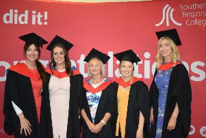 Health and Social Care students from Banbridge Campus celebrating at the SRC Higher Education Graduation. L-R: Katie-Jane Long, Danielle McAleenan, Paula Gilbert, Caroline Wilson and Laura Russell