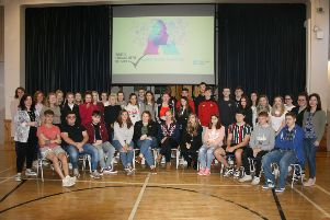 Debbie McCague from Youth Engagement Service, Banbridge (seated centre) pictured with SRC Banbridge students taking part in the Project Based Learning and SRC Lecturers Kathryn Moore, Catherine McKenna and Karen McClean