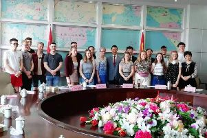 Students from SRC pictured with Barbara Rooney, SRC Course Lecturer and their hosts during visit to University of Hubei, China