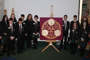 New-Bridge Integrated College students involved with the final art piece