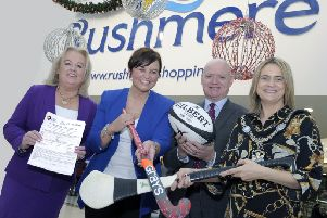 Pictured at the launch of the Council Senior Sports Awards are The Lord Mayor, Councillor Mealla Campbell, Edith Jamison, Chair of the Armagh, Banbridge and Craigavon Sports Forum Martin Walsh, Sponsor, Rushmere Shopping Centre and Denise Watson, compere
