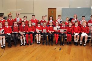 The Bridge Primary School P5 choir who sang carols at the Southern Area Hospice Services, Light Up a Life Ceremony in Banbridge Old Town Hall