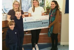 Pictured are Representatives and students from Lyness Stage School presenting the cheque to Lizzie McCullough, Fundraising Officer, SAHS