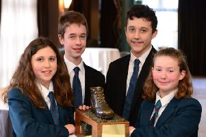 Bronze Boot winners, pictured Grace Moore, Moore McLoughlin, Rory Moore and Hannah Kerr from Banbridge Academy who helped raised �8,925.00 for Action MS