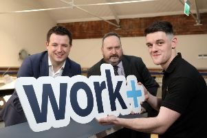 Pictured at the launch are Richard Kirk, Director of Workplus, Jim Wilkinson, Director of Apprenticeships, Careers and Vocational Education at the Department for the Economy; and Banbridge apprentice Kealan McCambridge
