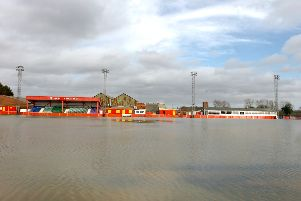The flooded pitch at Spencer Stadium